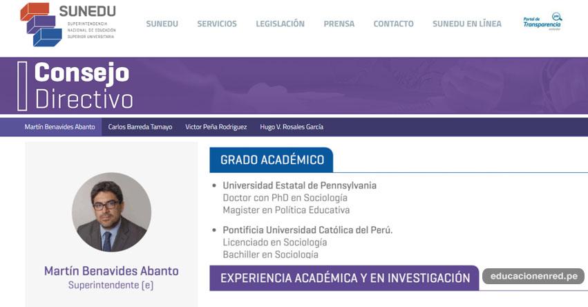 SUNEDU: Conoce el perfil del Dr. Martín Benavides Abanto, designado como superintendente encargado de la Superintendencia Nacional de Educación Superior Universitaria - www.sunedu.gob.pe