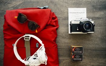 Wallpaper: Headphones, photo camera, casual, backpack