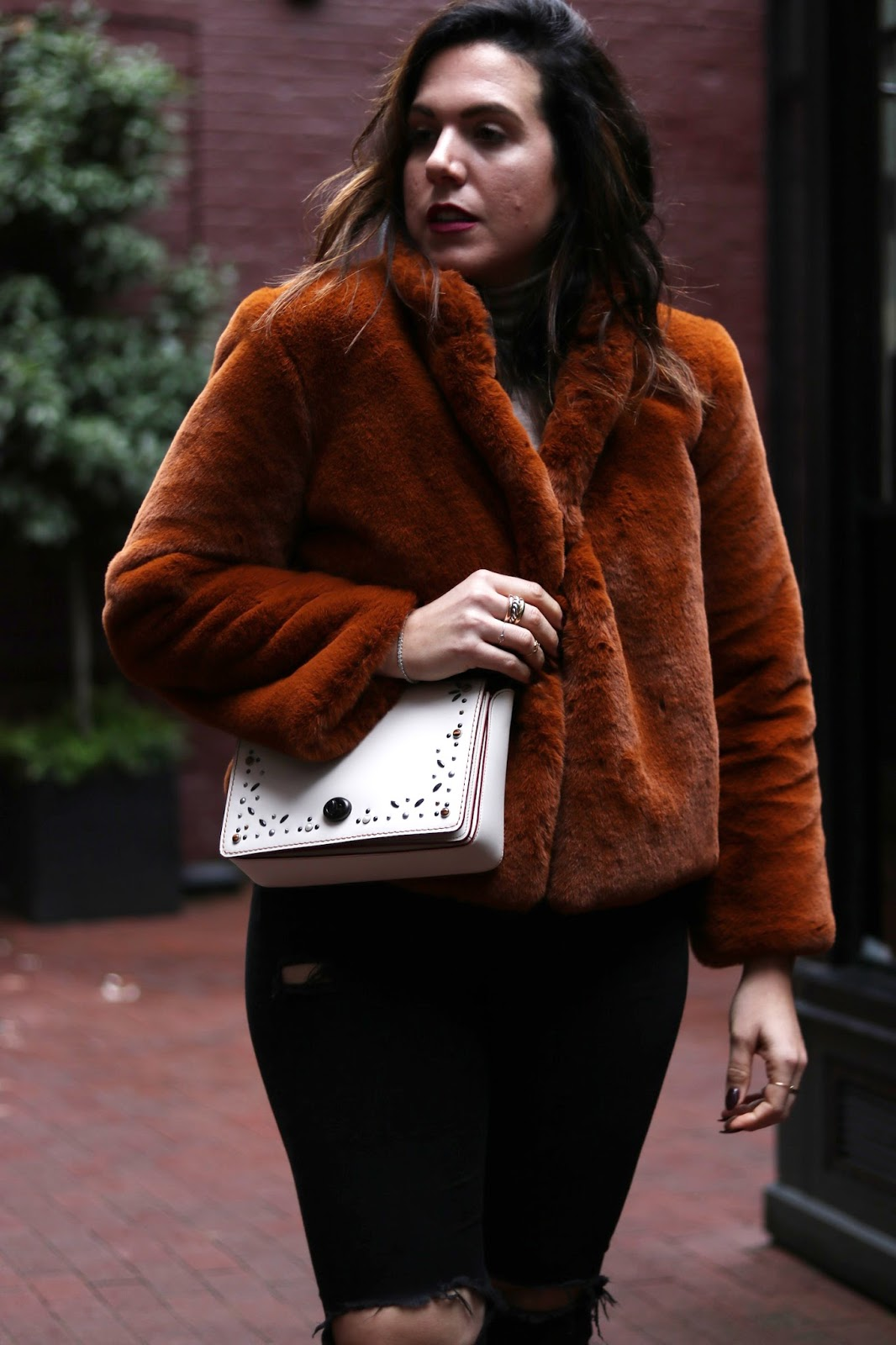 Coach Create Dinky 45 white custom handbag faux fur coat outfit vancouver fashion blogger aleesha harris