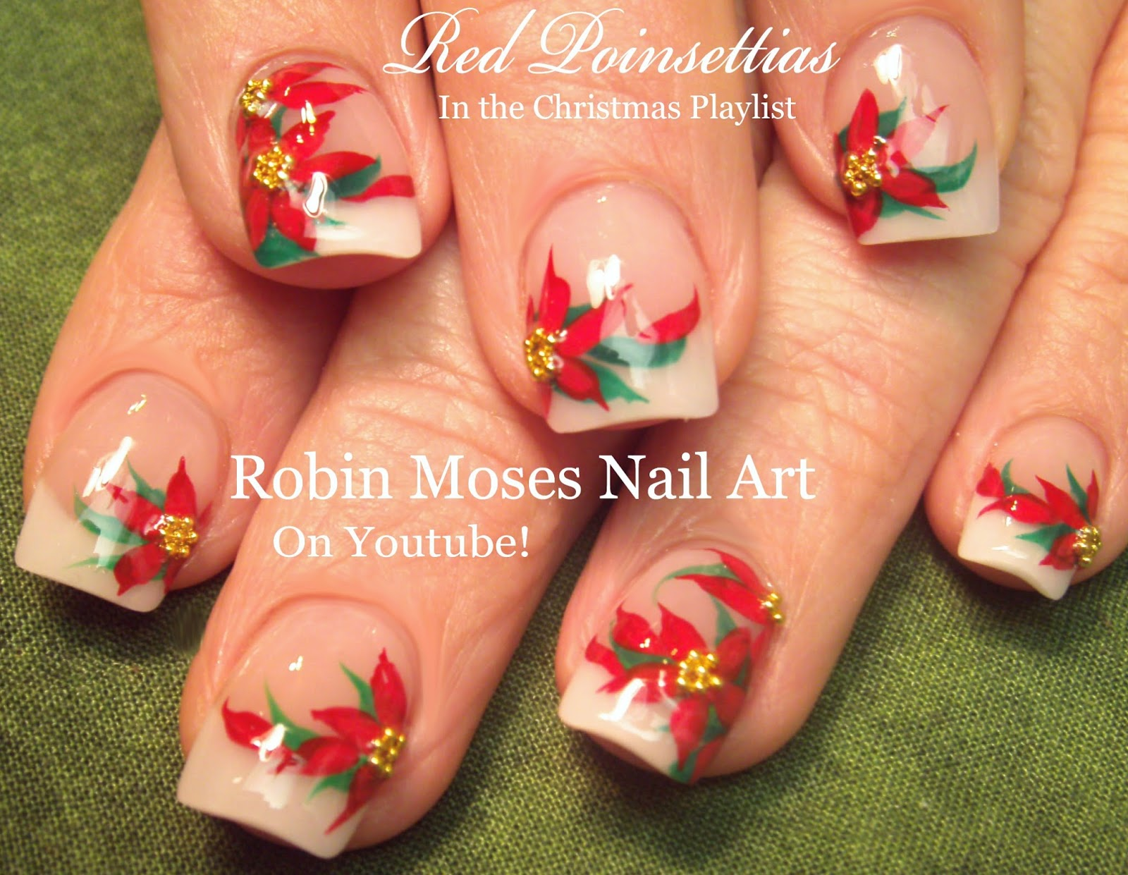 Nail Art By Robin Moses Christmas Poinsetta Nail Art Xmas Flower