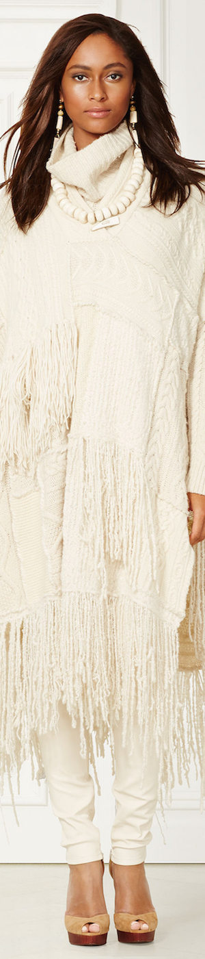 RALPH LAUREN CASHMERE-BLEND FRINGED PONCHO