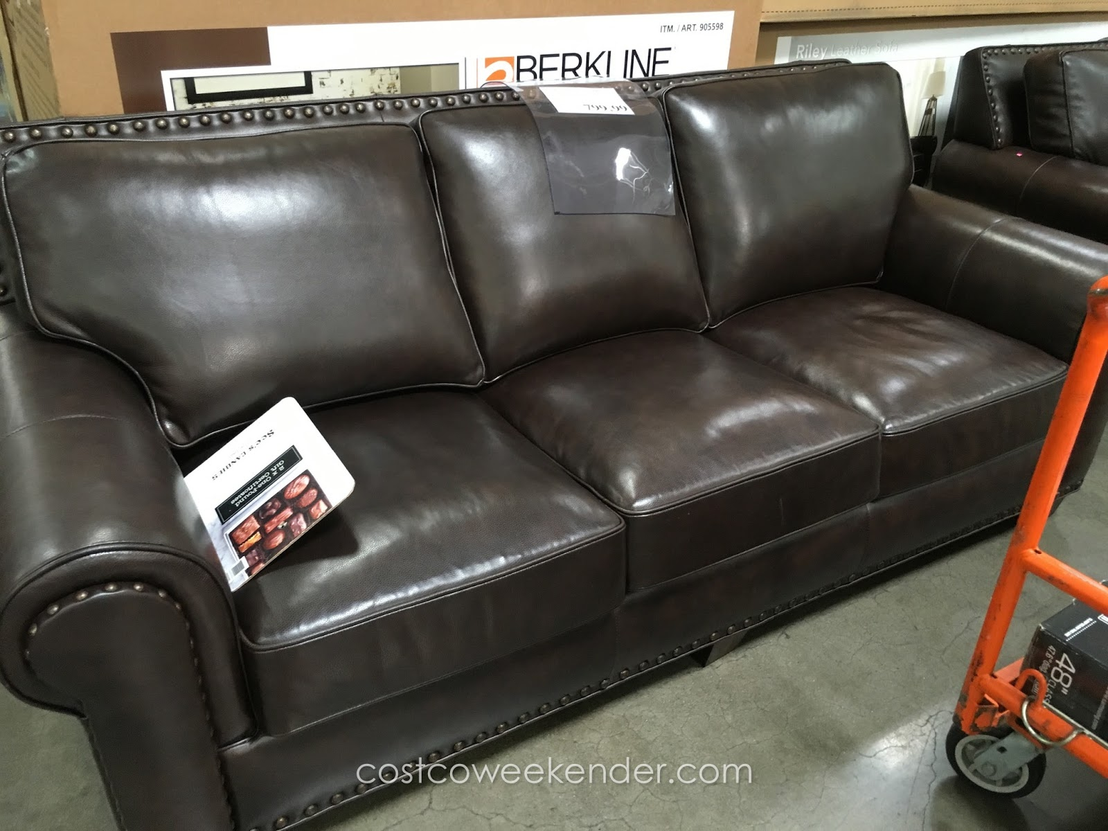 Relax On The Soft Leather Of Adalyn Home Riley Sofa