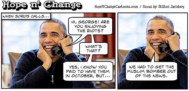 obama, obama jokes, political, humor, cartoon, conservative, hope n' change, hope and change, stilton jarlsberg, north carolina, riots, race, police, soros