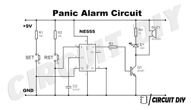 panic alarm using 555 timer