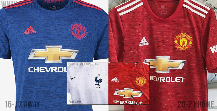 Big Likeness Adidas Man Utd 20 21 Vs Nike France 2018 Away Kit Vs Man Utd 16 17 Away Kit Footy Headlines