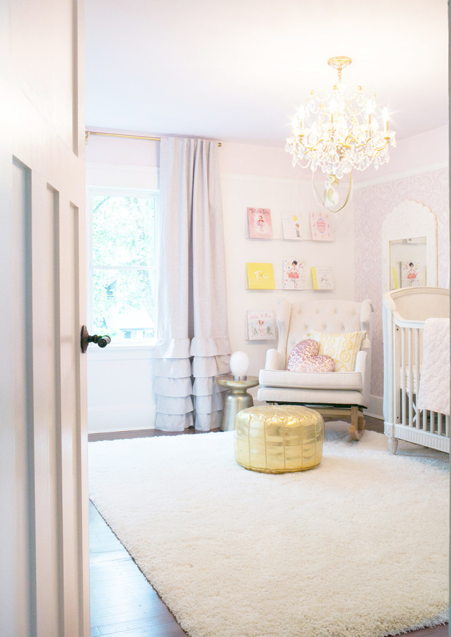 pink and gold nursery for girls