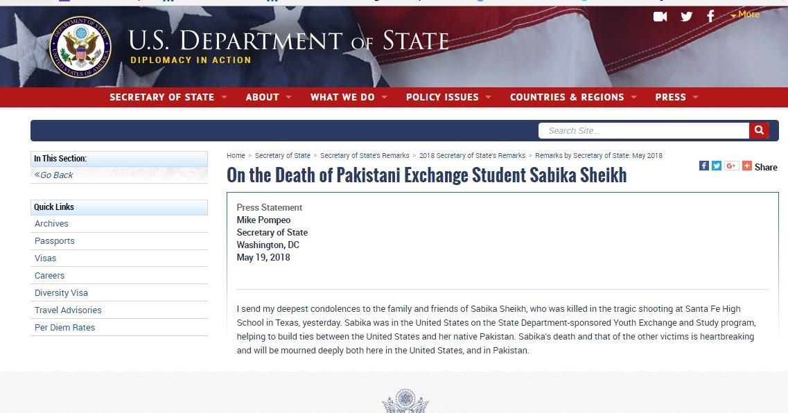 Secretary of State Pompeo on the Death of Pakistani Exchange Student Sabika Sheikh