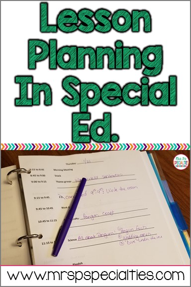 Lesson Planning In Special Education Mrs Ps Specialties