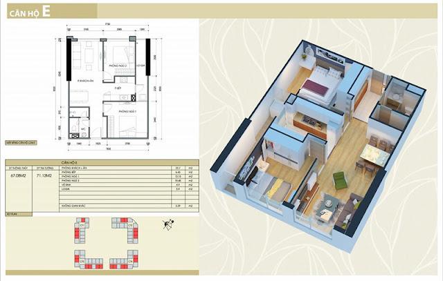 Thiết kế căn hộ E chung cư Eco Green City Nguyễn Xiển