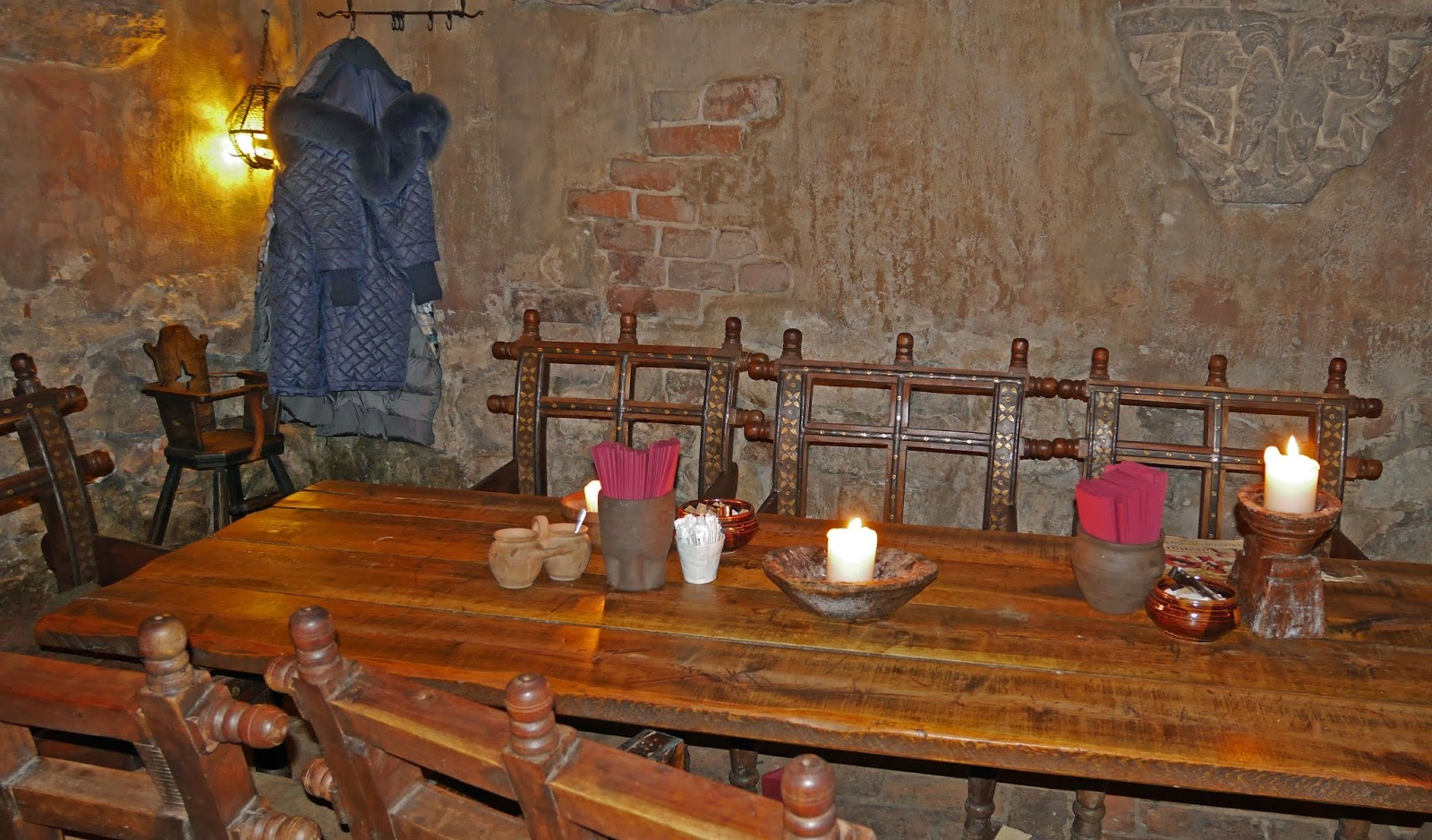 Table setup at Rozengrāls Medieval Restaurant in Riga, Latvia