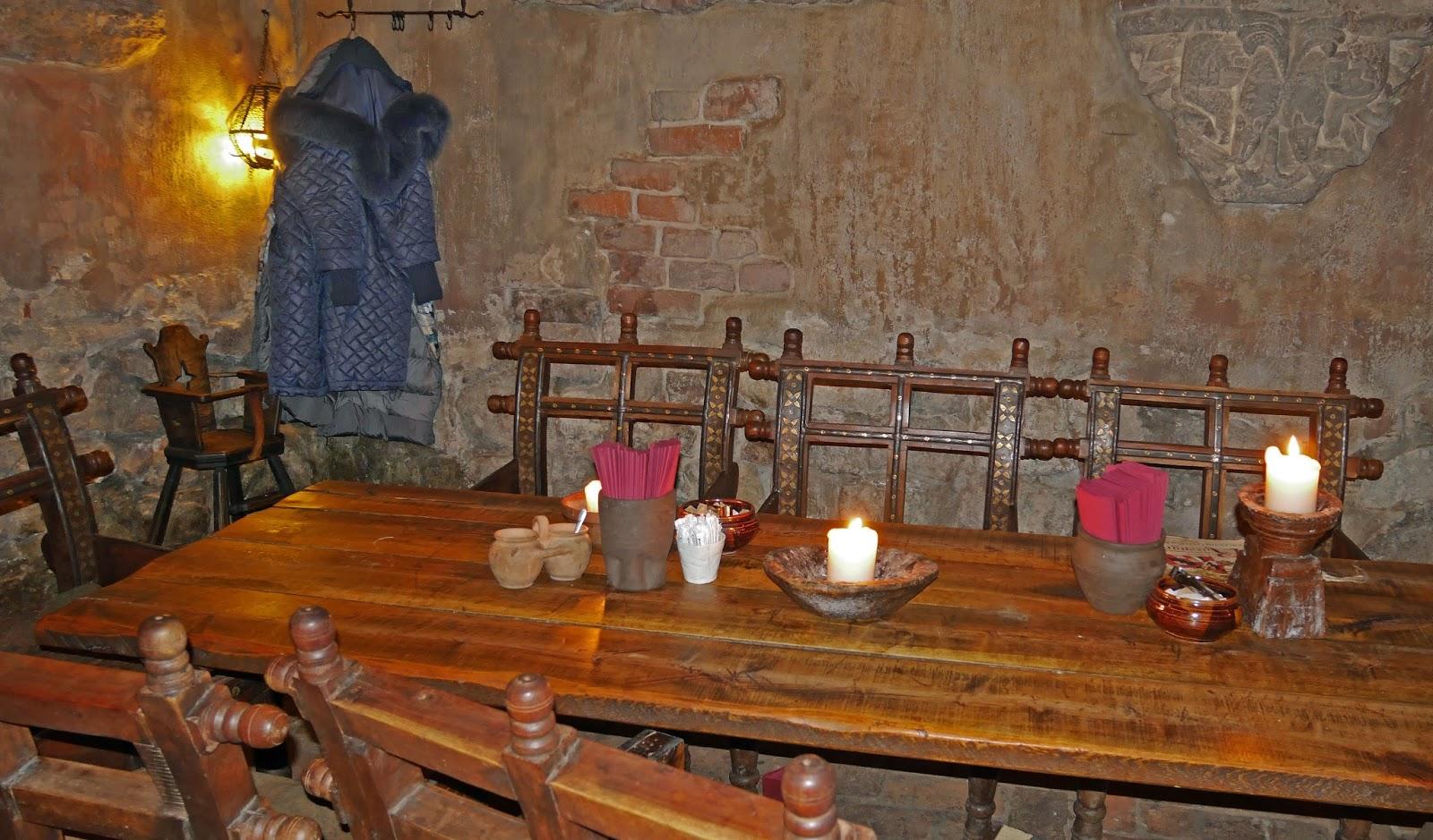 Table setup at Rozengrāls Medieval Restaurant in Riga, Latvia