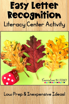 fall literacy centers leaves abcs letters dice