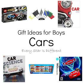 Car themed gift ideas for boys.