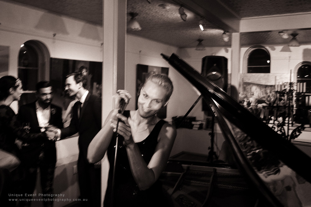 The Jazz singer at The Billich Gallery 30th Anniversary 'Erotica' Party - Photographed by Kent Johnson for Unique Event Photography.