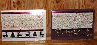 Weihnachtskarten mit Geschenkpapier und Gitterband