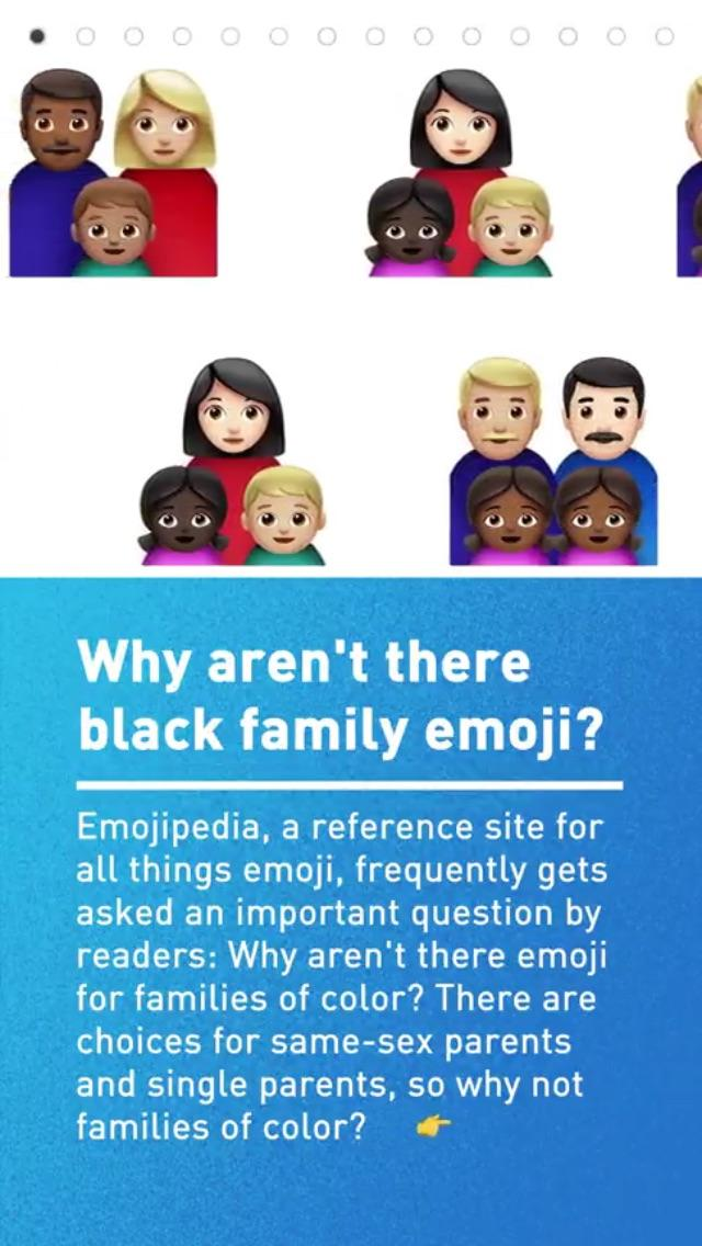 the code why are there no black family emojis