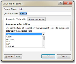 value field setting pivot table