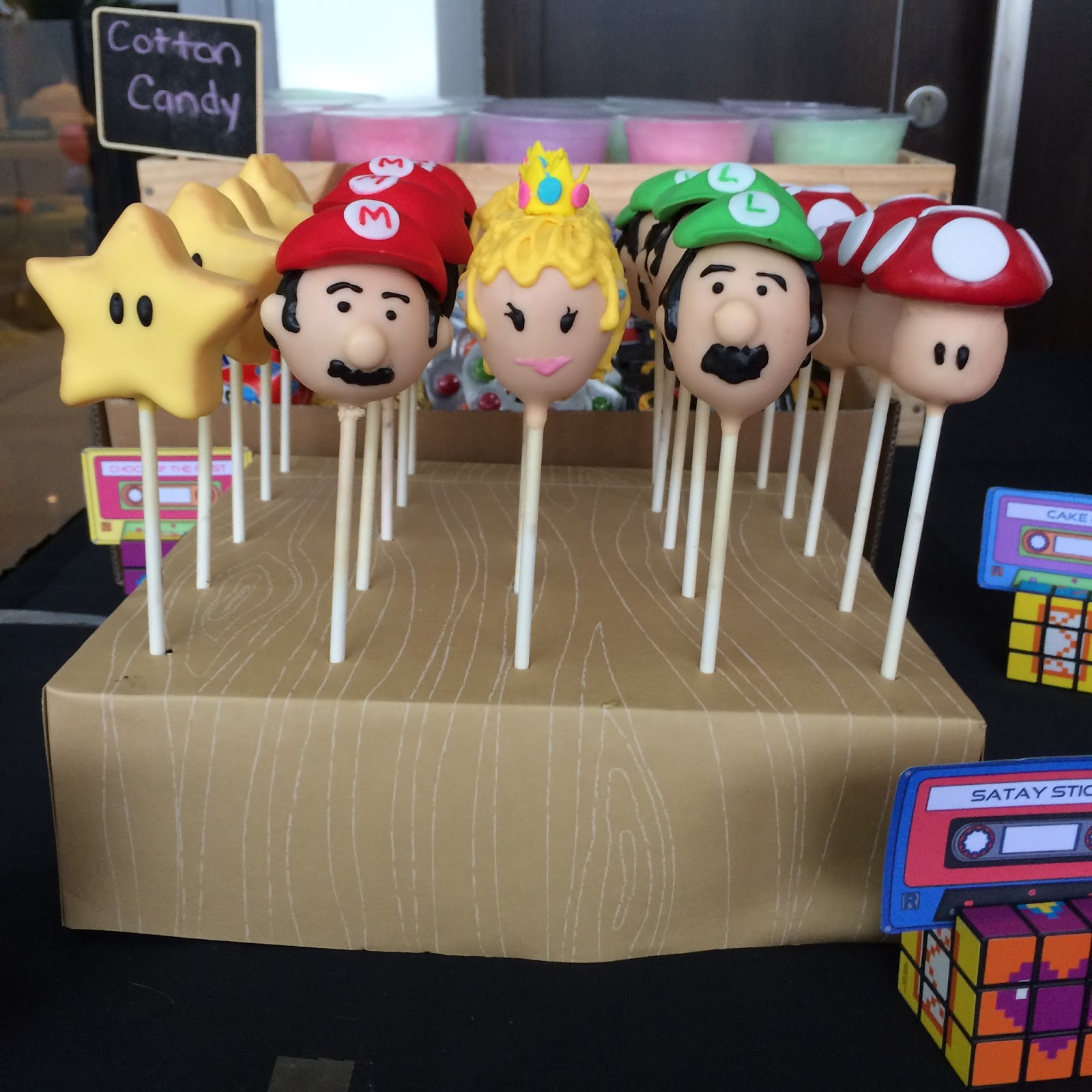 Super Mario Bros Cake Pops On A Diy Pop Stand