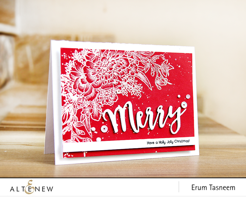 Altenew Just Because Stamp Set,  Holiday Script Words and Happy Holidays Stamp Set. |Erum Tasneem | @pr0digy0