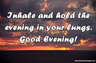 Inhale and hold the evening in your lungs. Good Evening!