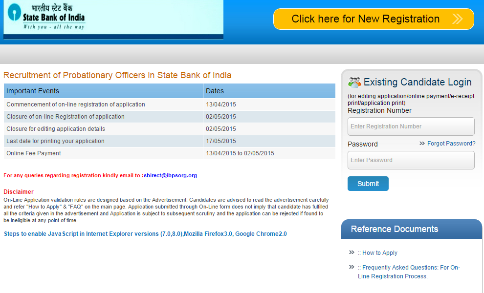 apply online form for sbi po 2017