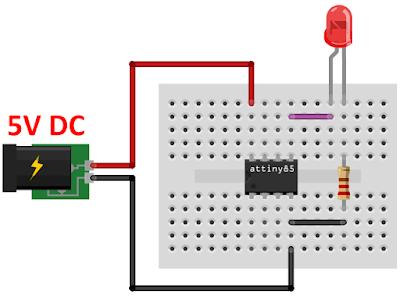 Circuito microcontrolador ATtiny85 com led blink