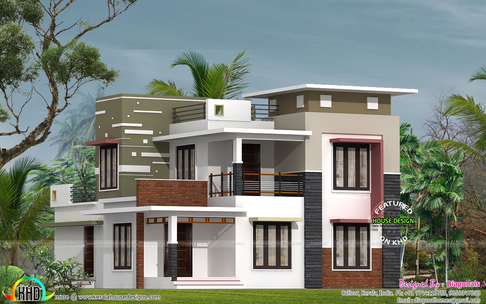 House details ground floor feet flat roof contemporary for Kerala home design flat roof elevation