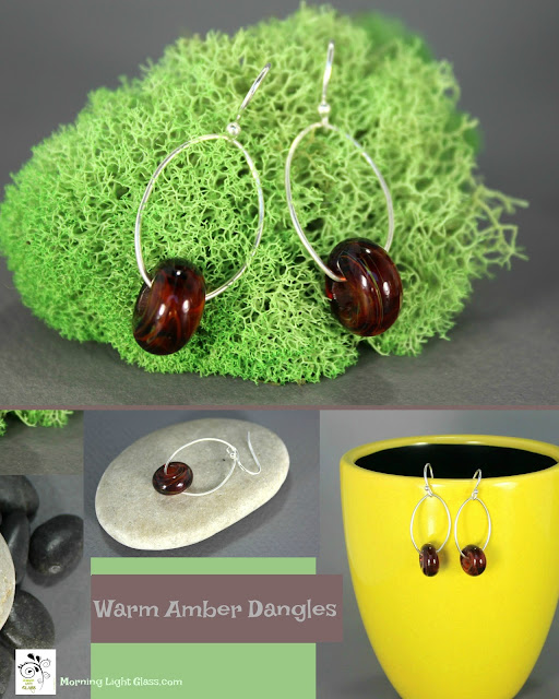 Warm Amber Glass Earrings