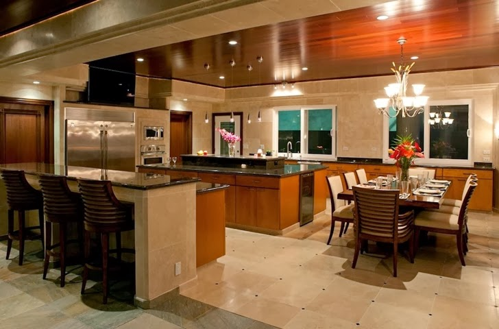 Kitchen in an Impressive Waterfall House in Hawaii