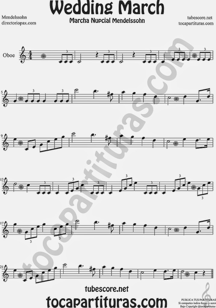 Marcha Nupcial Partitura de Oboe Sheet Music for Oboe Music Score Wedding March by Mendelssohn
