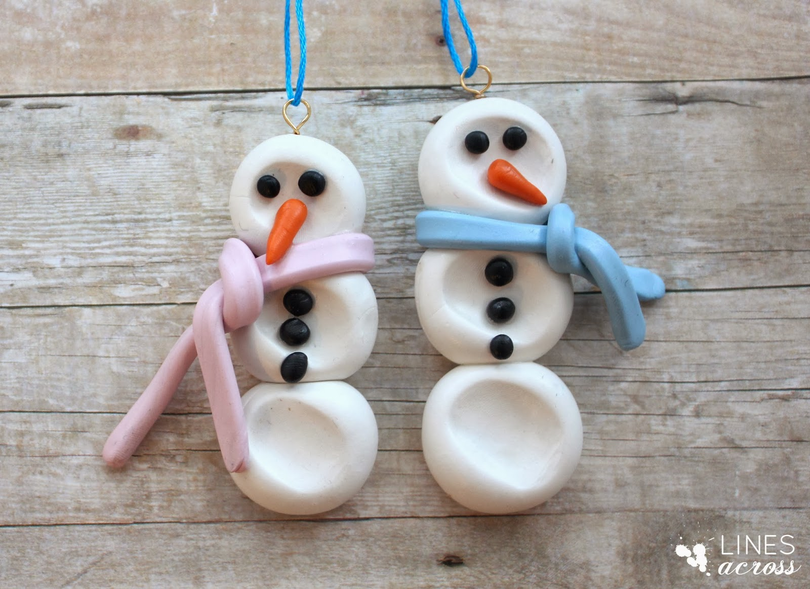 Clay Thumbprint Snowman Ornament - Lines Across