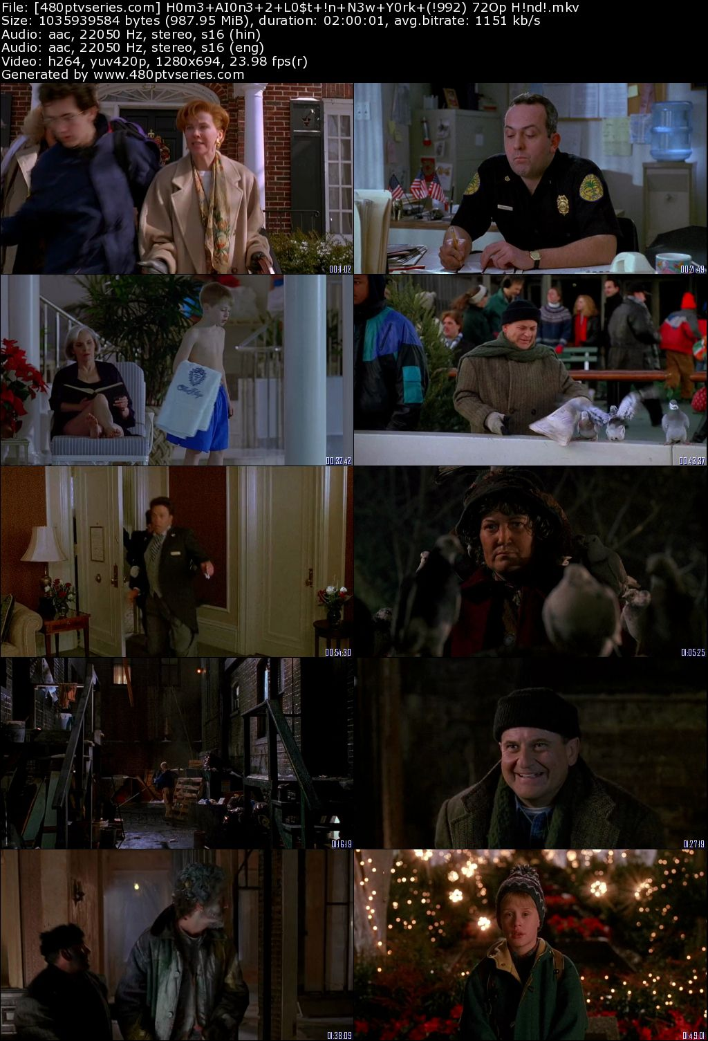 Home Alone 2 Lost In New York 1992 950mb Full Hindi Dual Audio