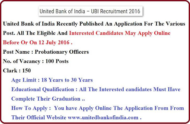 United Bank of India-UBI Recruitment 2016