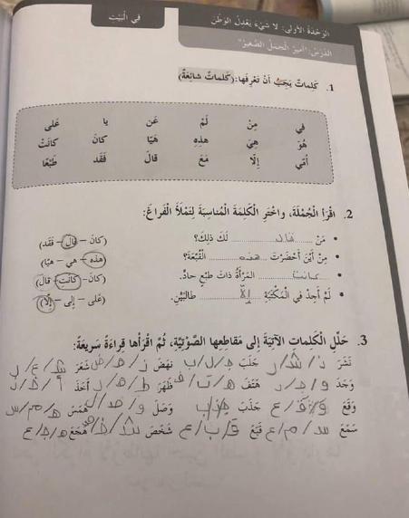 حلول كتاب النشاط الوحدة الاولي والثاني لغة عربية للصف الرابع