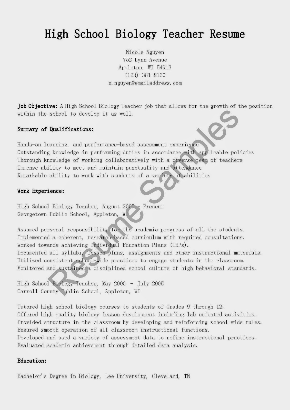 Biology Teacher Resume Sample  Biology Resume