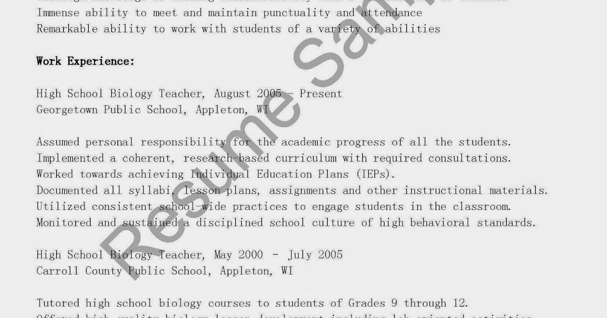 high school biology teacher resume sample