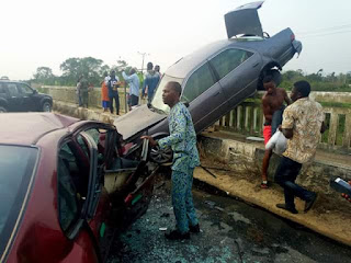 Photos: Man's leg crushed, another unconscious in ghastly accident caused by reckless driver using cell phone while driving in Bayelsa