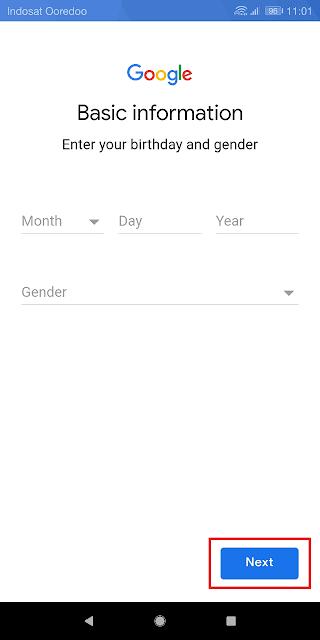 memasukkan tanggal lahir dan jenis kelamin
