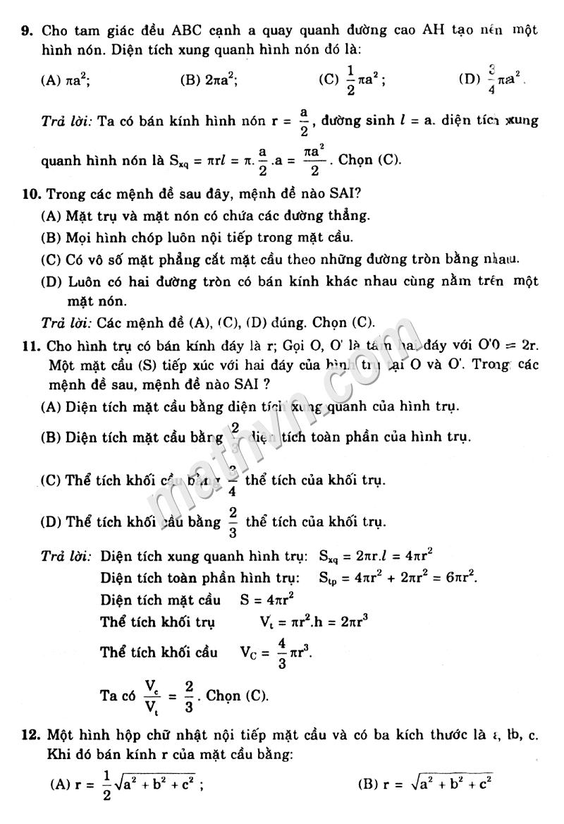 giải bài tập sgk hình học 12 cb ôn tập chương 2
