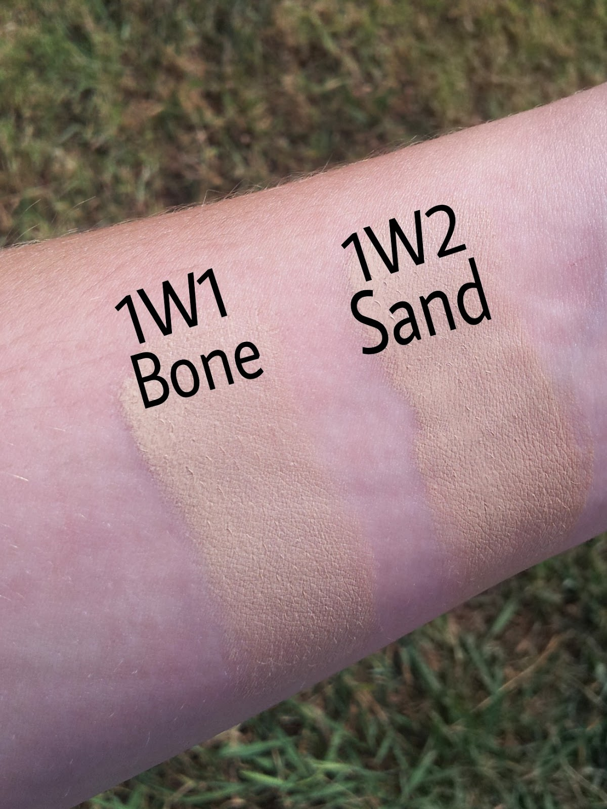 Swatches of pale skin foundations. Estee Lauder Double