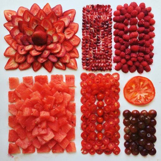 Adam Hillman arte fotografia comida organizada padrões geométricos coloridos doces frutas divertido curioso toc