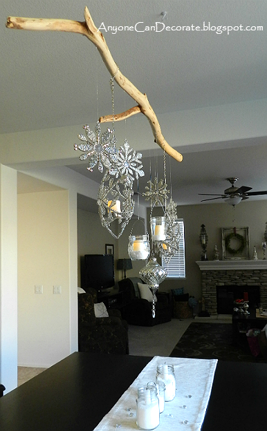 anyone can decorate my diy christmas ornament chandelier. Black Bedroom Furniture Sets. Home Design Ideas
