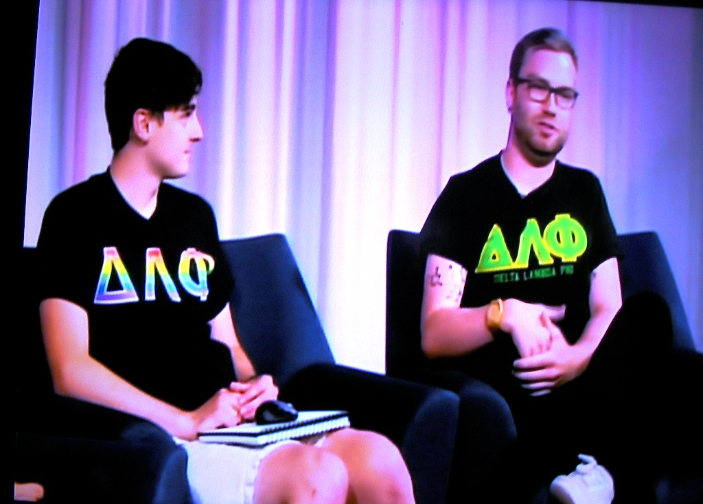 Gay Delta Lamda Phi frat frat boys Chris Hands and Ryan Lopez at Oregon State University are interviewed by Cory Zimmerman on a student TV station computer game show circa Aug. 16, 2017