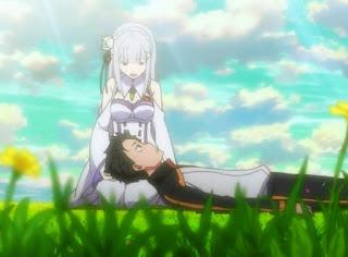 subaru and emilia re zero anime lap pillow