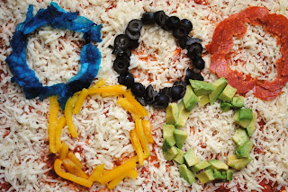 olympic pizza, olympic rings pizza, the style sisters, Homemade pizza