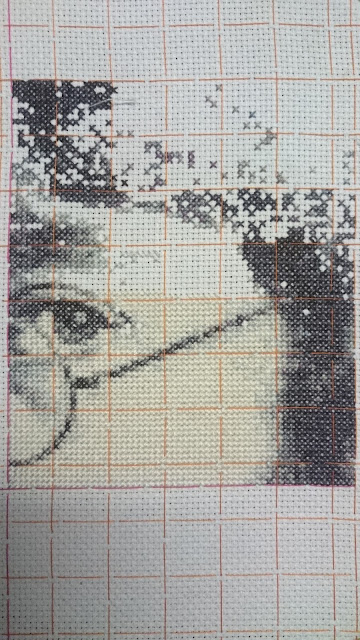 John Lennon cross stitch kit, page 1 with guidelines thread