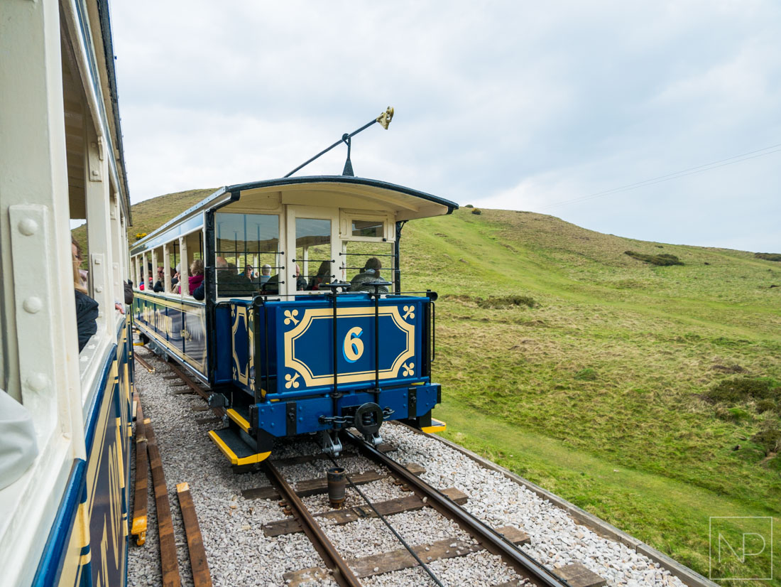 Passing trams in Llandudno North Wales