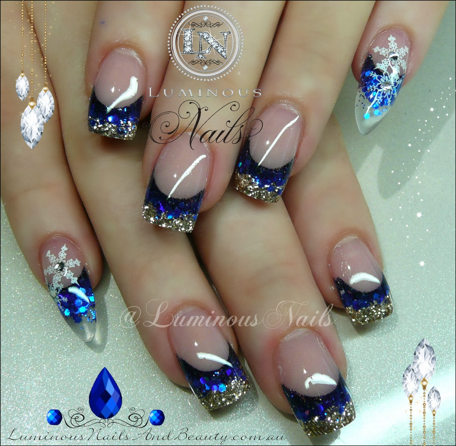 Blue & Gold Nails With Snow Flakes