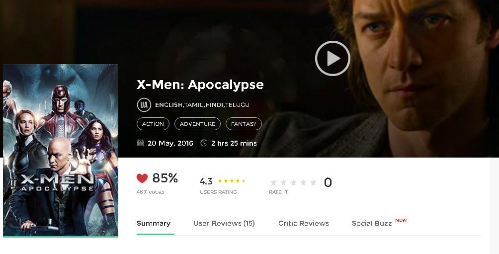 X-Men: Apocalypse (English) 2015 tamil movie songs download