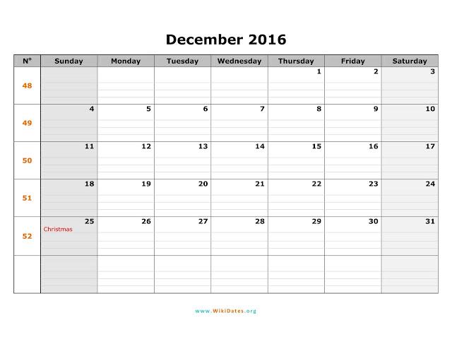 December 2016 Printable Calendar, December 2016 Calendar, December Printable Calendar, Free December Calendar, December 2016 Calendar Template, December 2016 Holiday Calendar